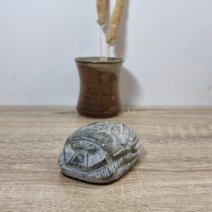 Vintage Egyptian Carved Stone Scarab Beetle Green